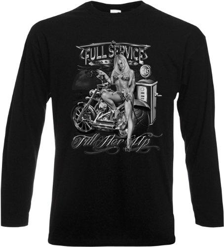 Sexy Girl mit Custom Bike auf Biker Langarmshirt, Longsleeve! Fill her up Originelles Geschenk! Schwarz