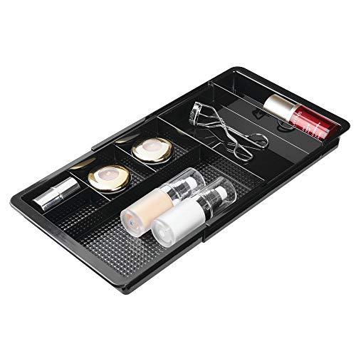 mDesign Rangement Maquillage télescopique - boîte à Maquillage Extensible avec Compartiments pour Le tiroir - Rangement Make up en Plastique Parfait pour Vernis à Ongles, Maquillage, etc. - Noir