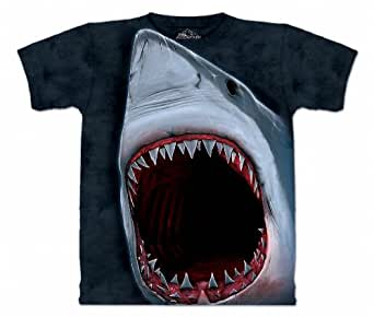 Shark Bite Aquatics T Shirt Adult Unisex The Mountain, Blue, Small