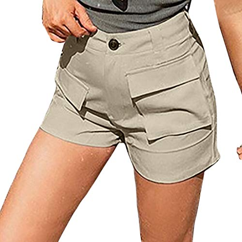 WOZOW Chino Shorts Kurze Hose Damen Solid Einfarbig High Waist Front Taschen Loose Lose A Line Slim Arbeitskleidung Workwear Mode Bequem Comfy Casual Freizeithose Stoffhose Mini Hosen (3XL,Beige)