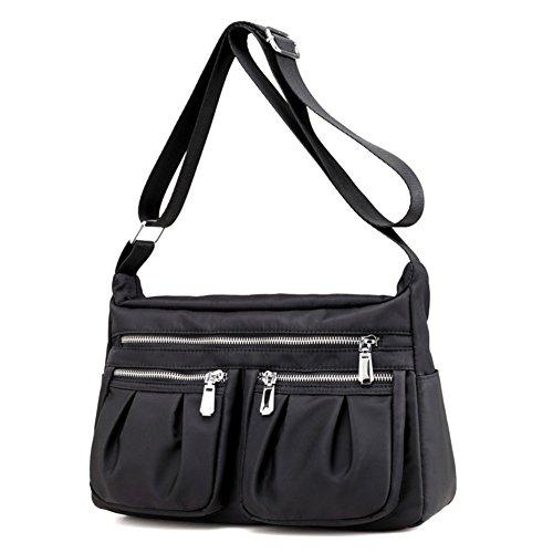 Nylon borsa donna impermeabile oxford panno borsa zaino canvas borsa viaggio signora pacco spalla borsa casual bag- nero
