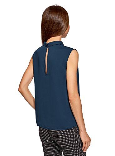 oodji Ultra Damen Ärmellose Bluse Basic mit Kragen Blau (7900N)