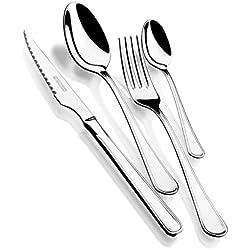 Monix Manila - Set de 24 piezas de acero inox 18/10 con estuche normal, cuchillo chuletero, color gris