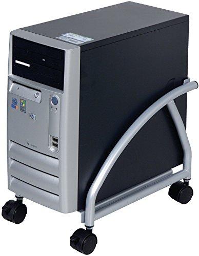 Eurosell Premium Tower Rollwagen Rollwagen Computer Pc Desktop Ständer mit Rollen Universal Metall Schwarz Halter Halterung
