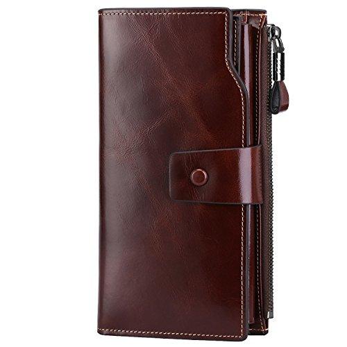 Michael Kors Tasche Mit Reißverschluss (S-ZONE Damen groß Kapazität Luxus echtes Leder Geldbörsen mit Reißverschluss-Tasche (Kaffee))