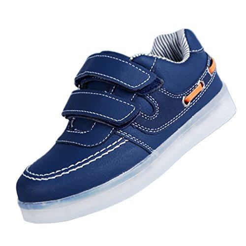 7-Farb-LED-Kinder, Jungen und Mädchen Sportschuhe LED-Leuchten blinken USB-Lade Schuhe Blau
