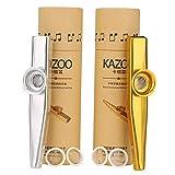Tagaremuser - 2 kazoo in lega di alluminio e 4 membrane flauto diaframma bocca kazoo con confezione regalo vintage