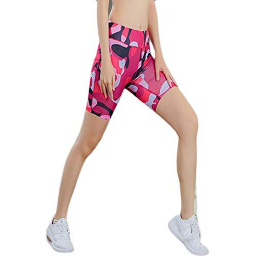 EERTX - Damen Reflective Kurze Yoga-Hose/Bunt/Hohe Taille/schrägen Taschen Laufen Ausbildung...
