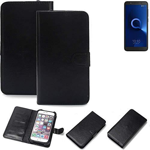 K-S-Trade 360° Wallet Case Handyhülle Alcatel 1C Single SIM Schutz Hülle Smartphone Flip Cover Flipstyle Tasche Schutzhülle Flipcover Slim Bumper schwarz, 1x