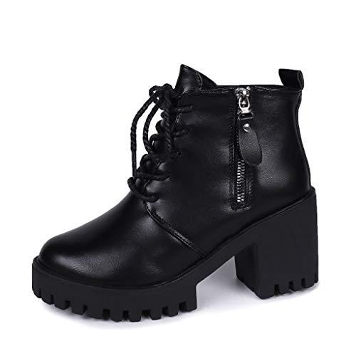 Fascino-M』 Damen Stiefel Damen Mit Absatz Blockabsatz Sie Sich Knöchel-Flache Oxford-Leder-Keil-Hohe Absatz-Schuhe beiläufige Kurze Stiefeletten Schuhe