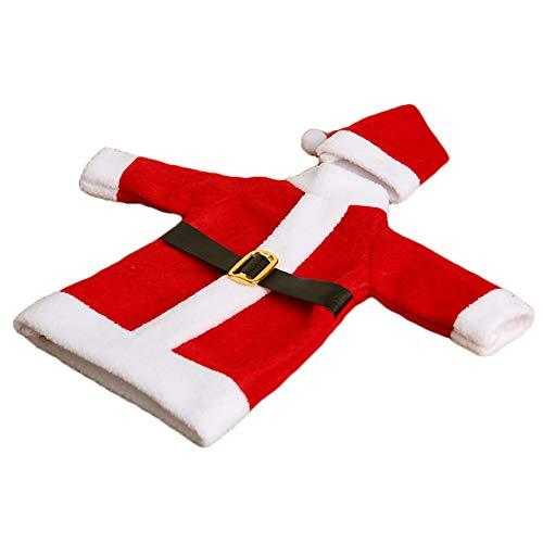 (Wudi Weihnachten Pullover Flaschenhülle Weihnachtsmann Flaschen-Hüllen-Kleid für Weihnachtsfest-Tischdekoration Abendessen (rot))