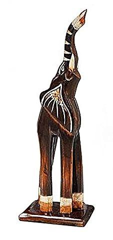 Deko Figur Elefant Baba aus Albesia Holz braun, Höhe 30 cm groß, Holzfigur Krafttier im Afrika Stil, Kunsthandwerk aus Bali handgefertigt