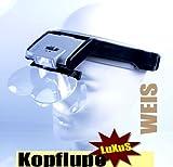 Kopflupe * LuXuS in Weis* High End Quality *4 Linzen LED- Beleuchtung * Batterien