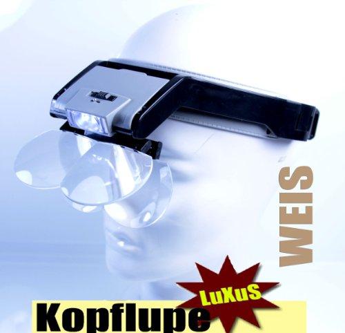 Unbekannt Kopflupe Weis* High End Quality *4 Linzen LED- Beleuchtung * Batterien