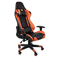 Homgrace Video Game Chair,Comfortable Recliner Adjustable PU Leather Padded Swivel Racing Tilt Computer Desk Chair with Neck Pillow,Waist Cushions & T-arms