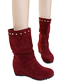 Stiefel Damen Boots Frauen Wildleder Stiefeletten Runde Zehe Keile Schuhe  Halten Warme Booties Nieten Schuhe Schneestiefel c10882b3a5