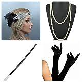 thematys Gangster-Braut Flapper Set + Stirnband + Halskette + Handschuhe + Zigarettenhalter - 20er Jahre Kostüm-Set für Damen - perfekt für Fasching & Karneval (5)