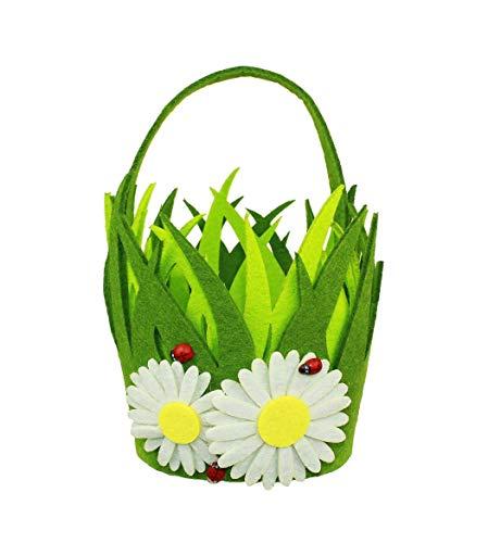 Haac - cestino decorativo in feltro per pasqua, rotondo, con fiori, 20,5 x 12 cm