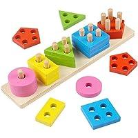 Apilables Puzzle clasificador Set con geométrico Piezas para Encaja Tablero Madera Rompecabezas para Bebe 2 años Juguetes Montessori Infantil