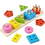 Apilar madera puzzle clasificador Set con geométrico Piezas para...