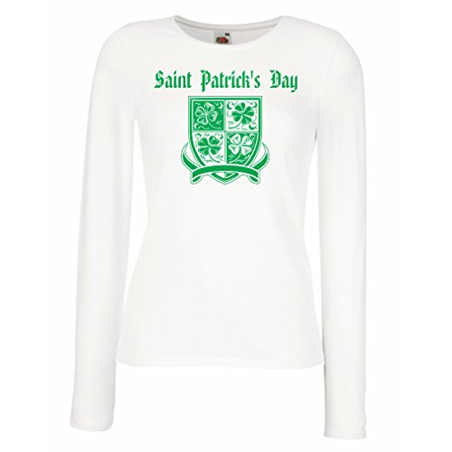 Kiss Weibliche Kostüm - Weibliche Langen Ärmeln T-Shirt Saint Patrick's Day Shamrock Symbol - Irish Party time (Small Weiß Mehrfarben)