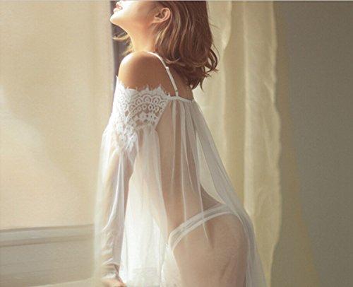SAMGU Frauen-reizvolles Wäsche-transparentes Babydoll-Nachtwäsche-Spitze-Kleid Weiß