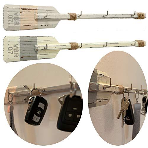 LS-Design Wand-Garderobe Paddel 40cm Grau Orange Shabby 4 Kleiderhaken Schlüsselbrett