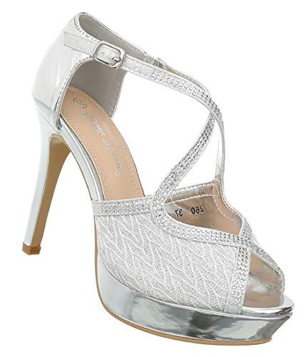 Damen Schuhe Sandaletten | Pumps Abendschuhe | Frauen Riemchen Peep Toes | Sexy Plateau High Heels Stiletto | Lack- Leder- Imitat Pfennigabsatz | Silber 39