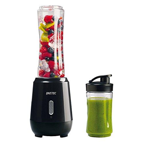 Imetec Personal e Sport Blender PB 100 Mini Frullatore con 2 Bottiglie (600 e 300 ml) Take-Away in Tritan e 4 Lame in Acciaio Inox, Plastica, Nero