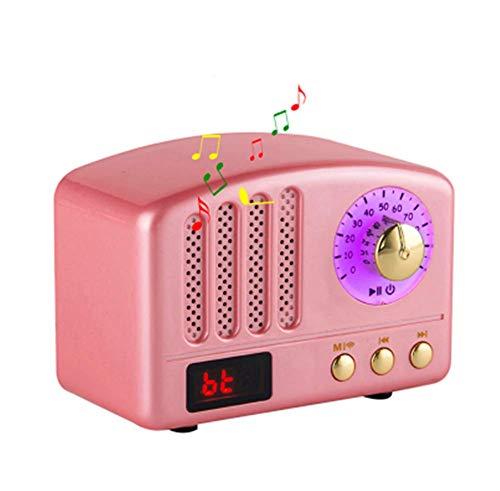 Orfila Hölzerne Bluetooth-Funk Lautsprecher Chinesischer Jahrgang Handmade 3D-Surround Hochwertige Mehrere Geräte Unterstützen Sprachmenü Prompt,Pink