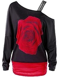 Bluse Damen AMUSTER Frauen Rose Drucken Tops Langarm Schulterfrei Bluse  Shirt Lässige Blumendruck Shirt Bluse großen größen… 5a88e46c79