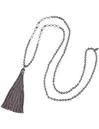 KELITCH Natural Perla Cristal Rebordeado Collar Hecho A Mano Largo Borlas Colgantes Encanto Joyería