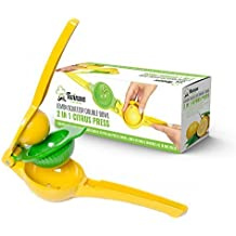 Presse-citron Twinzee - Conception unique double bols afin de presser des agrumes de toute taille - Presse Agrume Manuel en Aluminium - Fonctionne avec citrons, citrons verts, oranges et agrumes de toute taille