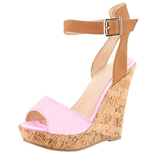 Sandalen Wildleder Schuhe pink Peep Strap Faux Keilabsatz Damen 46 Wedges Braun Eu Plateau Eks 35 Holz Toe Ankle gRPqpw