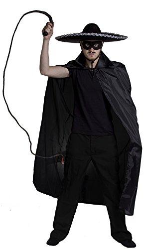 Erwachsene Zorro Set Fancy Kleid Kostüm-Spanisch Bandit Outfit: 142,2cm schwarz Cape mit Kragen + schwarz Eyemask + groß schwarz Sombrero mit Silber Einfassung + BULL Peitsche + - Kostüm Mit Einem Schwarzen Cape Ideen