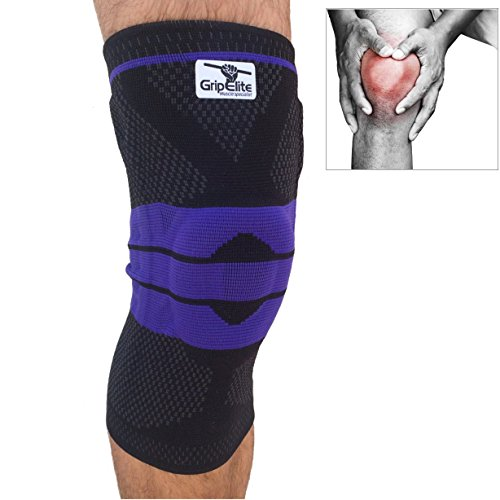 GripElite | Sport Kniebandage | Patella und Bandknieschützer | Idealer Schutz für Fußball, Basketball, Tennis, Hindernislaufen, Laufen | Weich mit Silikonverstärkung (L)