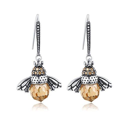 Presentski orecchini a ciondolo animali ape regina miele, zirconi in argento sterling 925, regalo per donne ragazza mamma