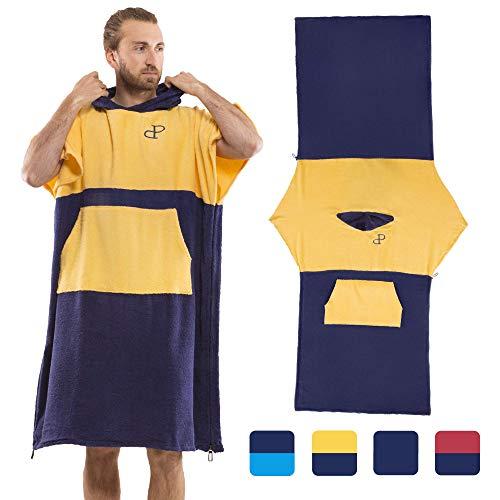 Mit Kapuze Surf Poncho Cabrio in Strandtuch mit Tasche und Ärmeln, Baumwolle, Wickelkleid für Erwachsene, Super saugfähig, Handtuch-Hoodie-Reißverschluss, Herren und Damen, Wassersport, gelb und blau