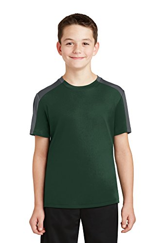 Sport-Tek® Youth PosiCharge® Competitor™ Sleeve-Blocked Tee. YST354 Forest (Tee Sleeve Youth)