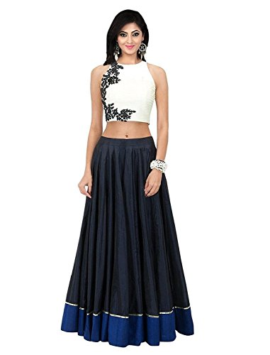 Muta Fashion Traditional Ethnic Wear Women Gown (Gown54_Western_Blue_White)