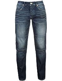 Firetrap Homme Mid Délavé Straight Jeans Coupe Droite Pantalon En Denim Poches