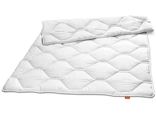 sleepling 190097 Komfort 320 Ganzjahresdecke Made in Germany Baumwolle Satin Mono medium 155 x 220 cm, weiß