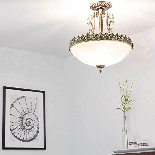 Jugendstil Lampe / Deckenleuchte rund / 3x E27 bis 60W 230V / Jugenstil Messing / antik Lampe /...