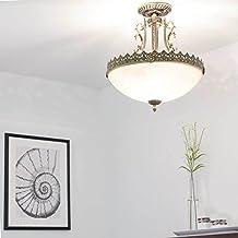 Jugendstil Lampe / Deckenleuchte Rund / 3x E27 Bis 60W 230V / Jugenstil  Messing / Antik