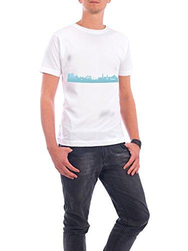 """Design T-Shirt Männer Continental Cotton """"Amsterdam 08 Skyline Pastel-Blue Print monochrome"""" - stylisches Shirt Abstrakt Städte Städte / Amsterdam Architektur Weihnachten von 44spaces Weiß"""