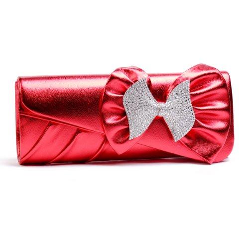 Grande fiocco in strass Damara listello decorativo letec lederpflege pochette borsetta da donna in acciaio inox, Rosso (rosso), L Rosso (rosso)