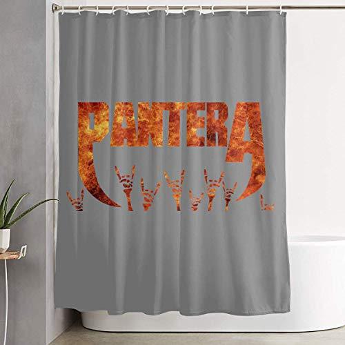 mchmcgm Duschvorhänge Badezimmer Dekor, Pan-tera Band Bathroom Fabric Curtains Farmhouse Tub Large Bath Curtain Set with Rings (Pantera Ring)