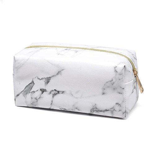 Kosmetiktasche Portable Kulturbeutel Wasserdichte Waschbeutel PU Leder Aufbewahrungstasche für Teenager Mädchen Frauen Dame Mann Marmor Weiß (Platz)