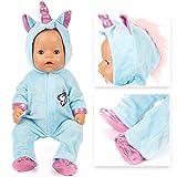 Amycute Vestiti Bambole per bebé Bambolotti 43 CM/17 Pollice,Tuta Unicorno con Le Scarpe Blu Our Generation Bambola (Non Contiene Bambole)