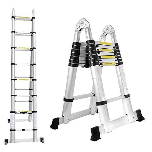 wolketon 5M Alu Teleskopleiter, Ausziehbare Leiter, Klappleiter Stehleiter Rutschfester, Ausziehleiter Mehrzweckleiter, Haushaltsleiter 150 kg Belastbarkeit